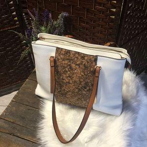 Handbags - White Satchel with Cork Detailing